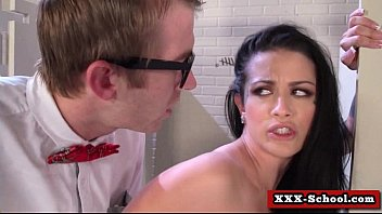both in teaching sex classroom for student Mistress makes slave bathe in her pee